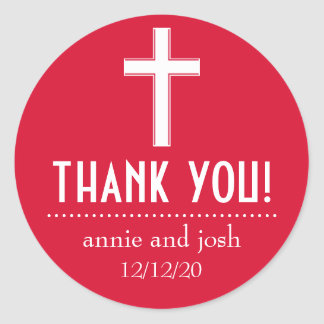 Religious Cross Thank You Labels (Red / White) Round Sticker