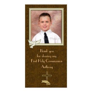 Religious Dove Cross Paisley Custom Photo Card