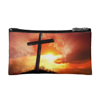 Religious Easter Cross at Sunset Cosmetic Bag