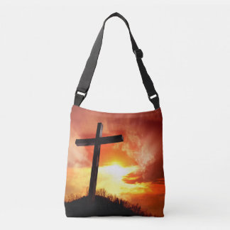 Religious Easter Cross at Sunset Crossbody Bag