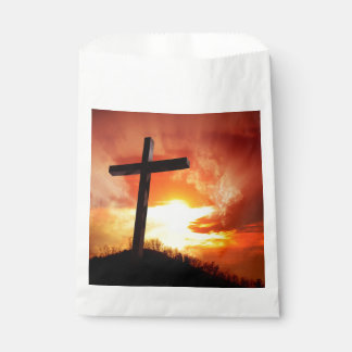 Religious Easter Cross at Sunset Favour Bag