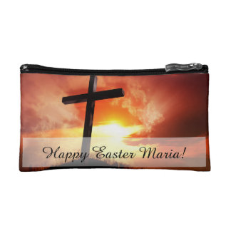 Religious Easter Cross at Sunset Makeup Bag