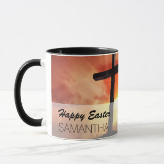 Religious Easter Cross at Sunset Mug