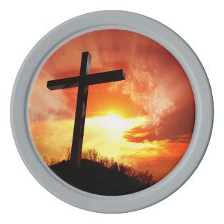 Religious Easter Cross at Sunset Poker Chips Set