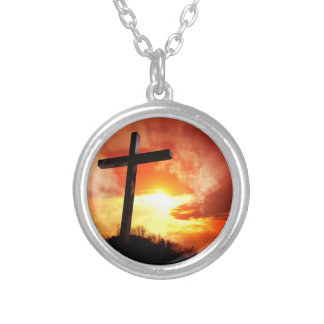 Religious Easter Cross at Sunset Silver Plated Necklace