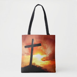 Religious Easter Cross at Sunset Tote Bag