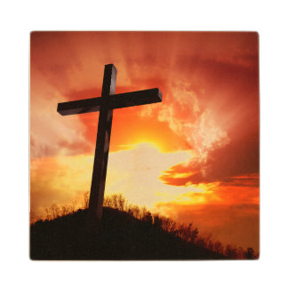 Religious Easter Cross at Sunset Wood Coaster