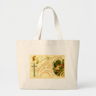 Religious Easter with Cross & Vignette Jumbo Tote Bag