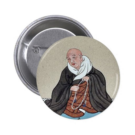 Religious figure holding a loop of prayer beads pinback buttons