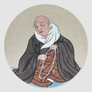 Religious figure holding a loop of prayer beads stickers