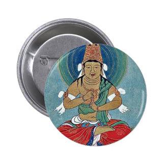 Religious figure sitting on a lotus pinback button