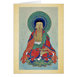 Religious figure sitting on a lotus with blue halo card