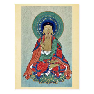 Religious figure sitting on a lotus with blue halo post card