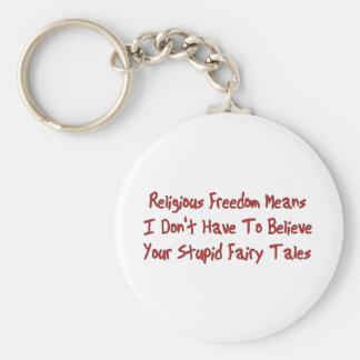 Religious Freedom Basic Round Button Key Ring