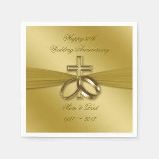 Religious Golden 50th Anniversary Paper Napkins Disposable Serviette