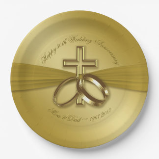 Religious Golden 50th Anniversary Paper Plate