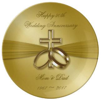 Religious Golden 50th  Anniversary Porcelain Plate