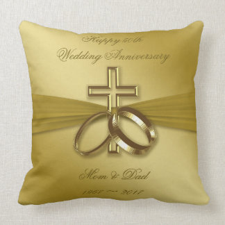 Religious Golden 50th Anniversary Throw Pillow
