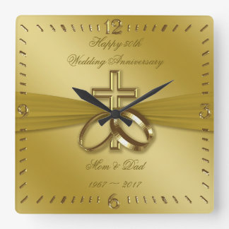 Religious Golden 50th Wedding Anniversary Clock