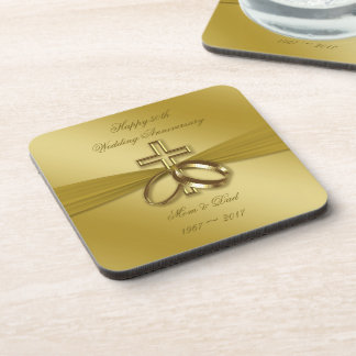 Religious Golden 50th Wedding Anniversary Coaster