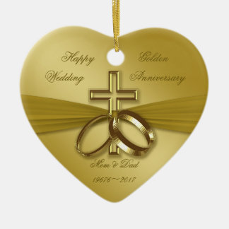 Religious Golden 50th Wedding Anniversary Ornament
