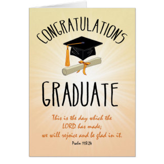 Religious Graduation Gold Starburst with Black Cap Card