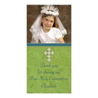 Religious Green White Cross Customized Photo Card