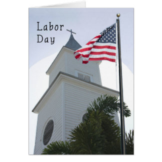 Religious Labor Day Card with Church & Flag
