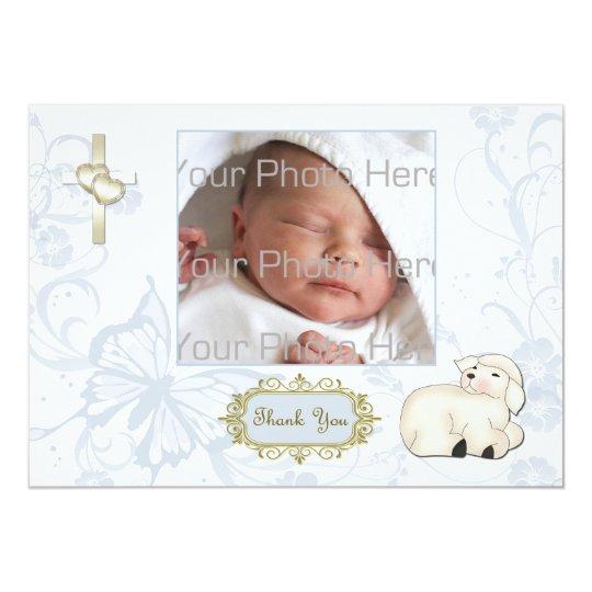 Religious Lamb, Cross, Blue Floral Photo Card