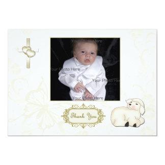 Religious Lamb, Cross, Tan Floral Photo Card 13 Cm X 18 Cm Invitation Card