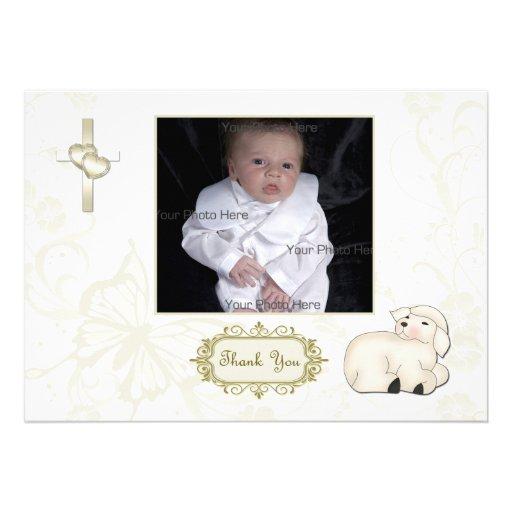 Religious Lamb, Cross, Tan Floral Photo Card Custom Invitations