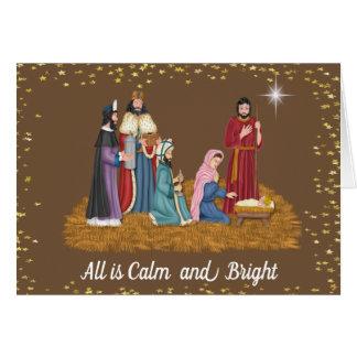 Religious Manger Scene Christmas Card