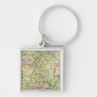 Religious map of France Silver-Colored Square Key Ring