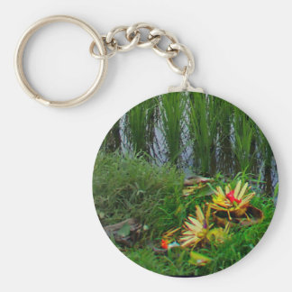 Religious Offering, Ubud Bali Basic Round Button Key Ring