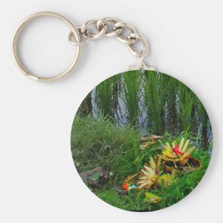Religious Offering, Ubud Bali Basic Round Button Key Ring