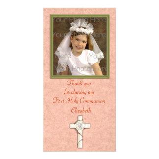 Religious Peach White Cross Photo Greeting Card