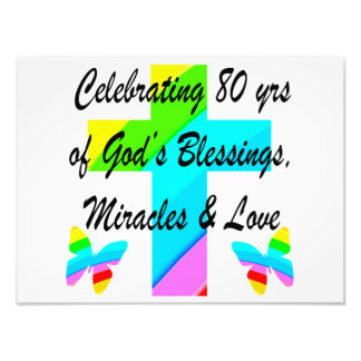 RELIGIOUS PERSONALIZED 80TH BIRTHDAY DESIGN PHOTO PRINT