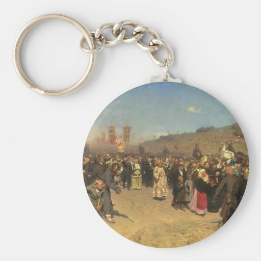Religious Procession in Kursk Province Keychain