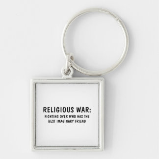 Religious War Silver-Colored Square Key Ring