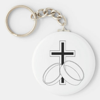 Religious Wedding Invitation Basic Round Button Key Ring