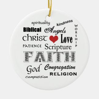 Religious Word Cloud+Blue Rippled Cross Christmas Tree Ornament