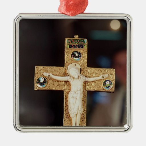 Reliquary crucifix, ivory Christ on gold cross Christmas Tree Ornaments