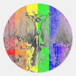 Rembrandt 1653 detail Three Crosses Classic Round Sticker