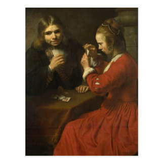 Rembrandt: A Young Man and a Girl Playing Cards