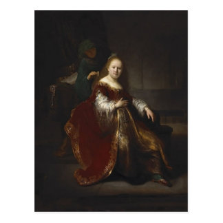 Rembrandt: A young woman at her toilet Postcard