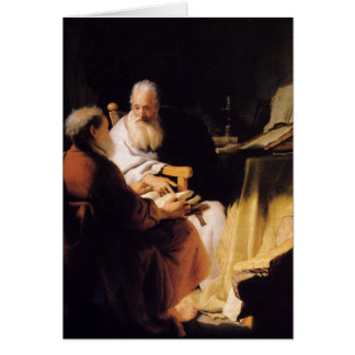 Rembrandt Art Painting Two Old Men Disputing Card