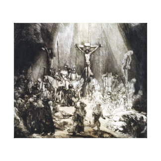Rembrandt Christ Crucified between the Two Thieves Canvas Print