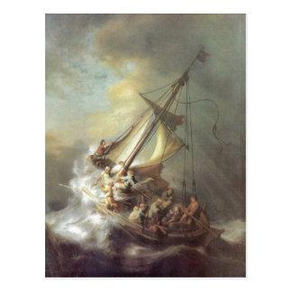 Rembrandt Harmensz. van Rijn Christus im Sturm auf Postcard