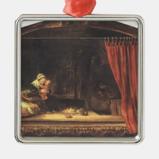 Rembrandt- Holy Family with a Curtain Silver-Colored Square Decoration
