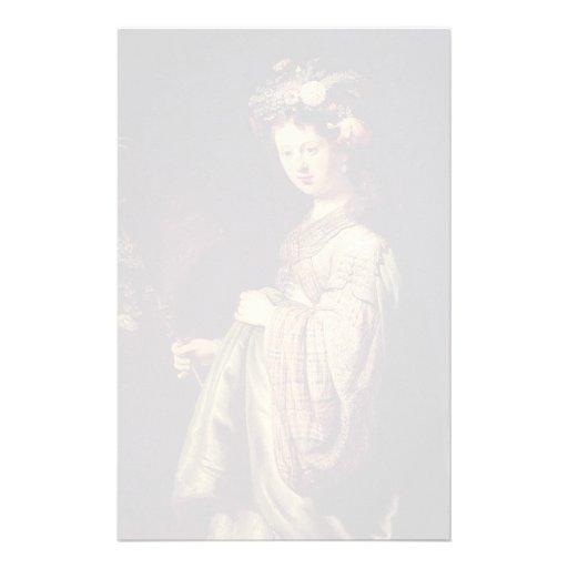 Rembrandt- Saskia as Flora, 1634 (oil on canvas) Custom Stationery